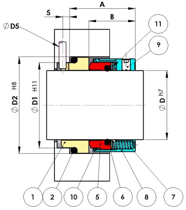 Cierre Mecánico simple no equilibrado multimuelle